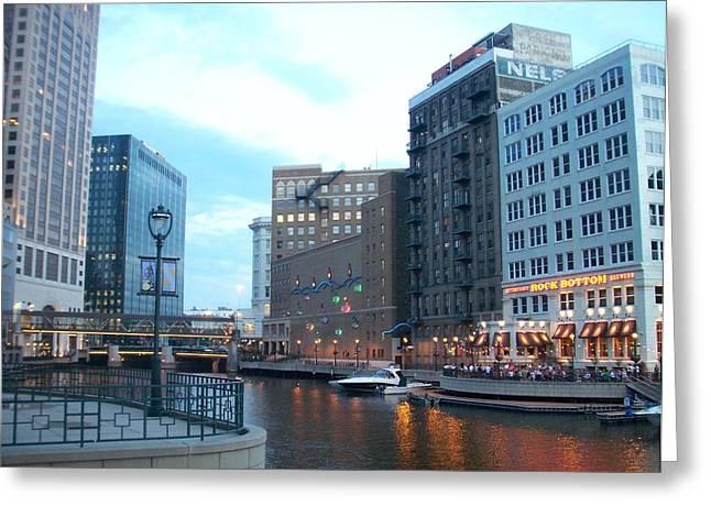 Riverwalk Photographs Greeting Cards - Milwaukee River walk Greeting Card by Anita Burgermeister