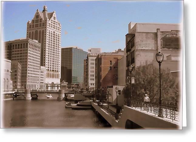 Riverwalk Digital Art Greeting Cards - Milwaukee Riverwalk Greeting Card by Anita Burgermeister