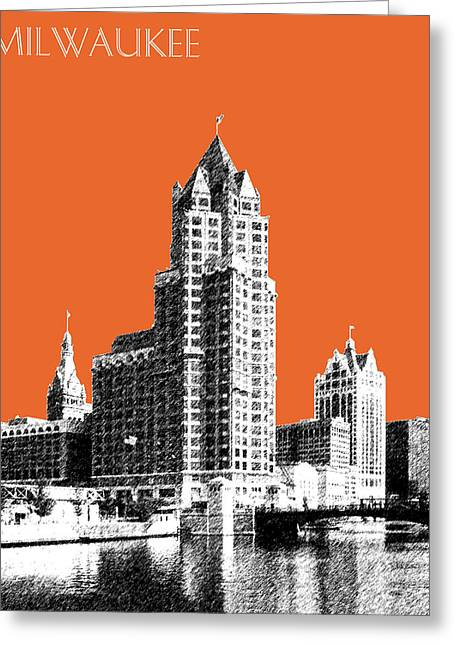Wisconsin Art Greeting Cards - Milwaukee Skyline - 4 - Coral Greeting Card by DB Artist