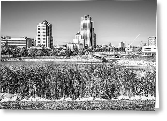 Wisconsin State Parks Greeting Cards - Milwaukee Skyline and Lakeshore State Park Black and White Pictu Greeting Card by Paul Velgos