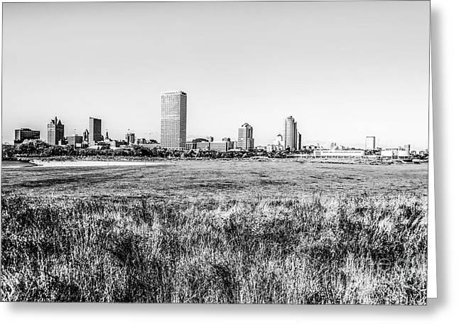 Northwestern Us Greeting Cards - Milwaukee Skyline Black and White Picture Greeting Card by Paul Velgos