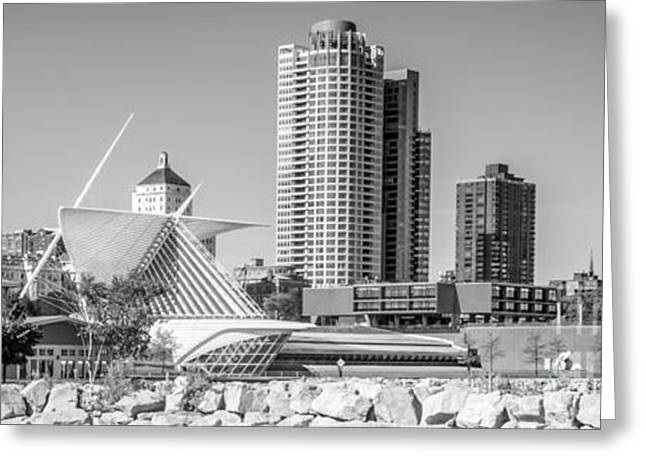 Milwaukee Art Museum Greeting Cards - Milwaukee Skyline Panorama in Black and White Greeting Card by Paul Velgos