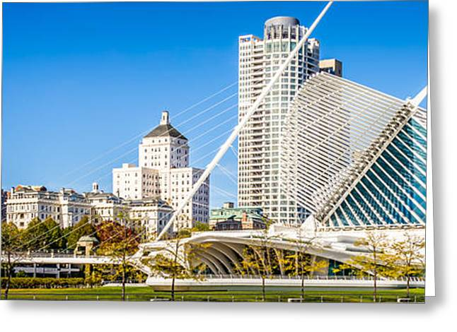 American Art Museum Greeting Cards - Milwaukee Skyline Panorama Photo Greeting Card by Paul Velgos