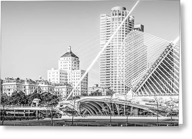 American Art Museum Greeting Cards - Milwaukee Skyline Panoramic Photo in Black and White Greeting Card by Paul Velgos