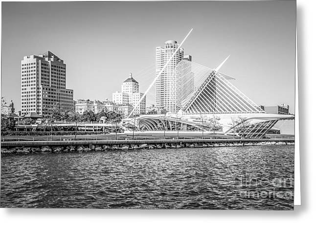 American Art Museum Greeting Cards - Milwaukee Skyline Photo in Black and White Greeting Card by Paul Velgos