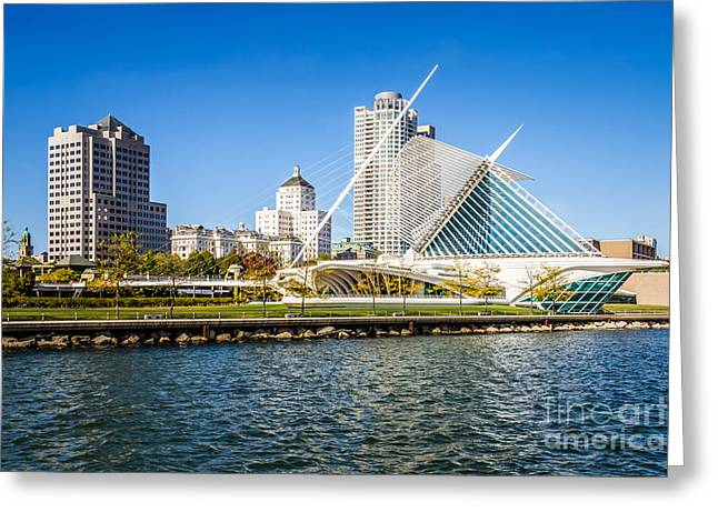 Milwaukee Art Museum Greeting Cards - Milwaukee Skyline Photo with Milwaukee Art Museum Greeting Card by Paul Velgos