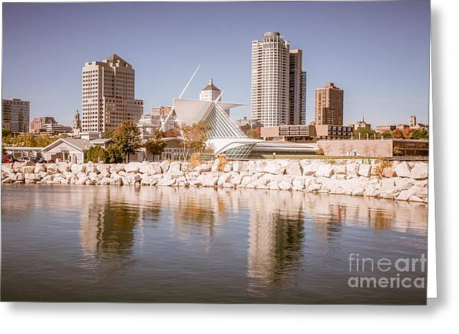 Milwaukee Art Museum Greeting Cards - Milwaukee Skyline Picture Greeting Card by Paul Velgos