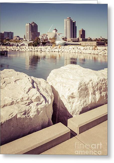 Milwaukee Art Museum Greeting Cards - Milwaukee Skyline Retro Picture Greeting Card by Paul Velgos