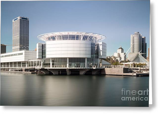 Milwaukee Art Museum Greeting Cards - Milwaukee Skyline with Discovery World Picture Greeting Card by Paul Velgos