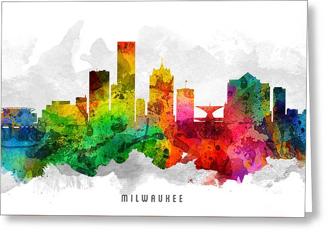 Milwaukee Greeting Cards - Milwaukee Wisconsin Cityscape 12 Greeting Card by Aged Pixel