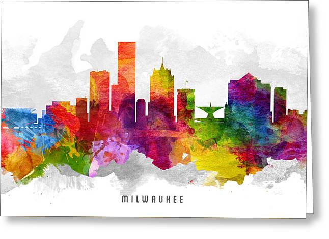 Milwaukee Skyline Greeting Cards - Milwaukee Wisconsin Cityscape 13 Greeting Card by Aged Pixel