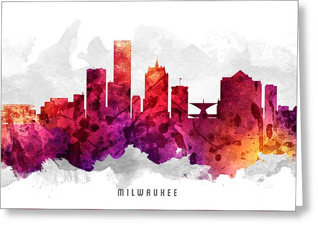 Milwaukee Skyline Greeting Cards - Milwaukee Wisconsin Cityscape 14 Greeting Card by Aged Pixel