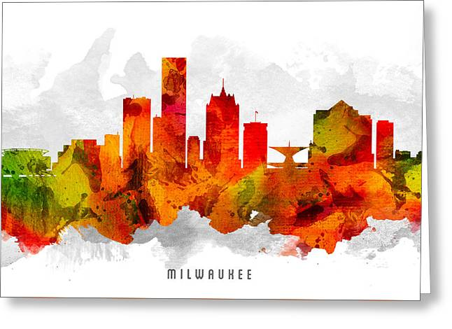 Milwaukee Skyline Greeting Cards - Milwaukee Wisconsin Cityscape 15 Greeting Card by Aged Pixel