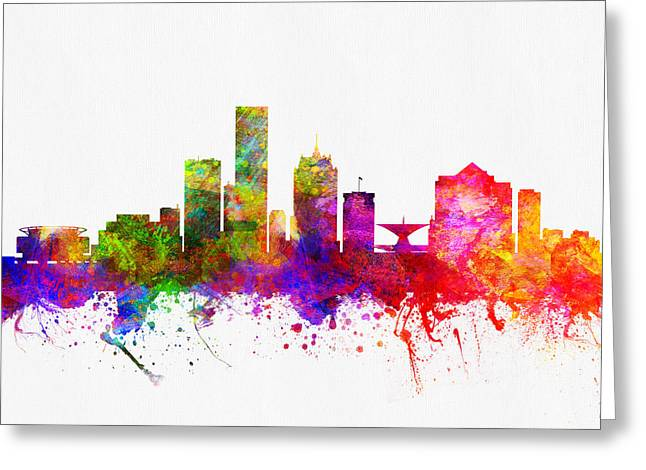 Milwaukee Greeting Cards - Milwaukee Wisconsin skyline Color02 Greeting Card by Aged Pixel