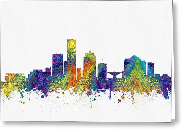 Milwaukee Greeting Cards - Milwaukee Wisconsin skyline color03 Greeting Card by Aged Pixel