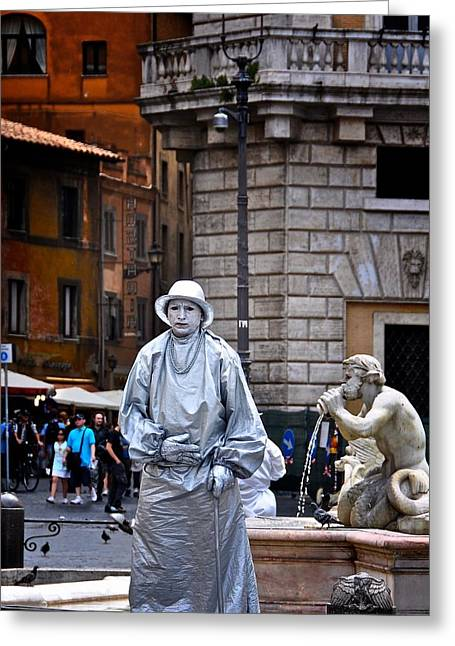 Pantomimes Greeting Cards - Mime in Rome Greeting Card by Marion McCristall