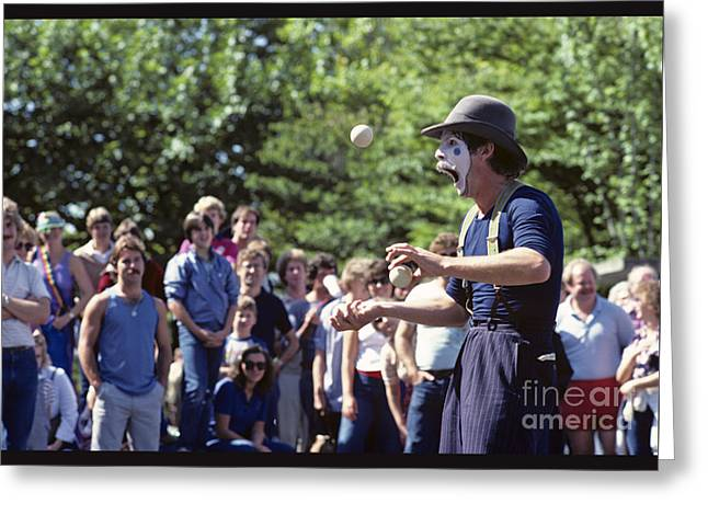 Festivities Greeting Cards - Mime Juggling Greeting Card by Jim Corwin