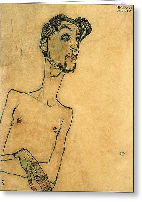 Thin Drawings Greeting Cards - Mime van Osen Greeting Card by Egon Schiele