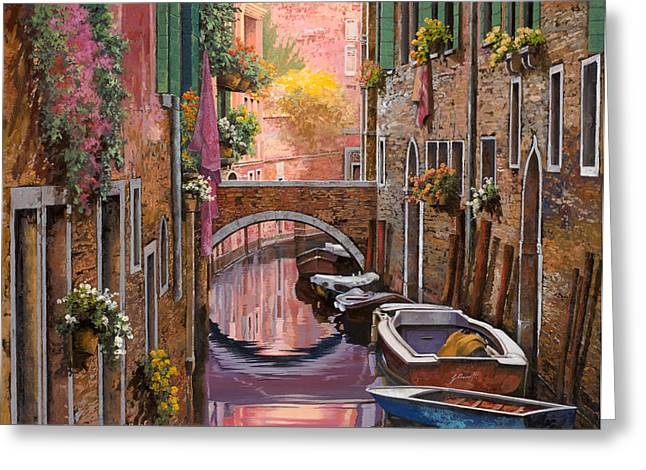 Venice Greeting Cards - Mimosa Sui Canali Greeting Card by Guido Borelli