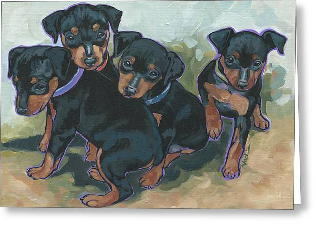 Nadi Spencer Greeting Cards - Min Pin Pups Greeting Card by Nadi Spencer
