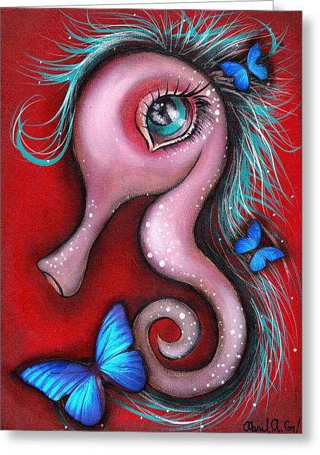 Sea Horse Greeting Cards - Mina Greeting Card by  Abril Andrade Griffith