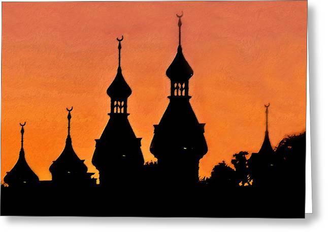 Half Moon Bay Digital Art Greeting Cards - Minarets at dusk Greeting Card by David Lee Thompson