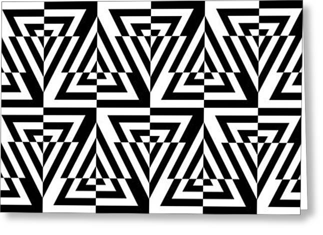 Optical Art Drawings Greeting Cards - Mind Games 24 Panoramic Greeting Card by Mike McGlothlen