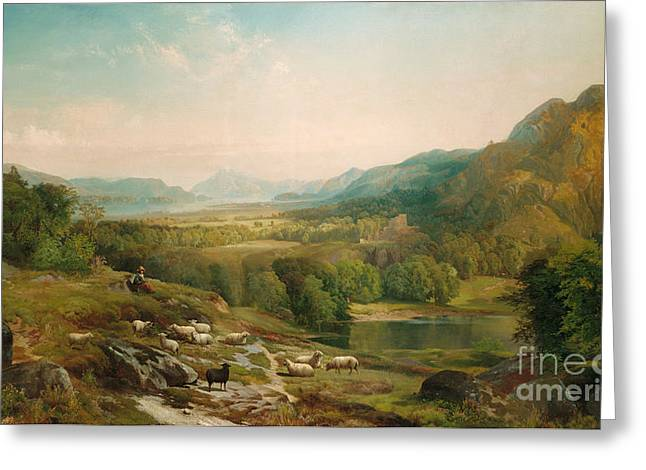 River. Clouds Greeting Cards - Minding the Flock Greeting Card by Thomas Moran