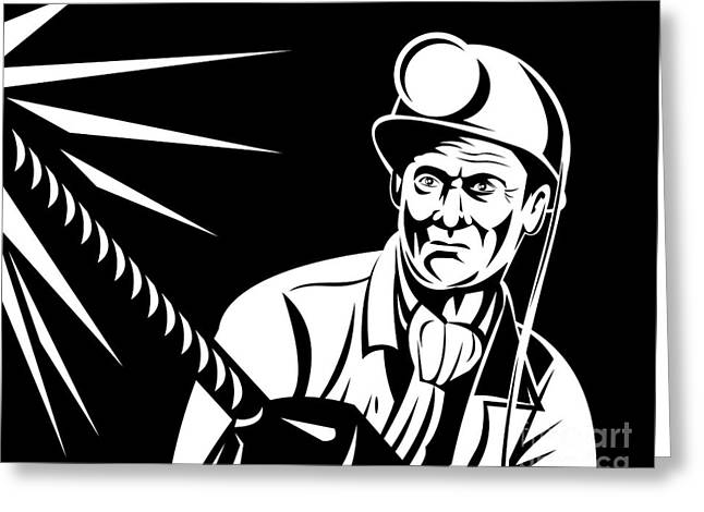 Isolated On Black Background Greeting Cards - Miner Portrait Front  Greeting Card by Aloysius Patrimonio