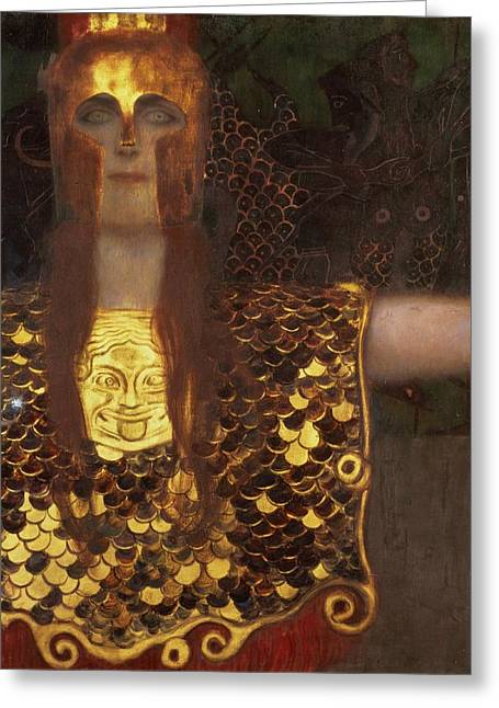 Klimt Greeting Cards - Minerva Greeting Card by Gustav Klimt