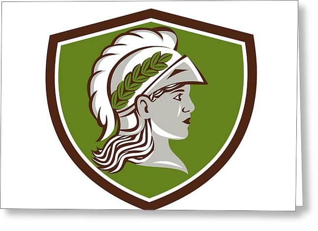 Minerva Head Crest Retro Greeting Card by Aloysius Patrimonio