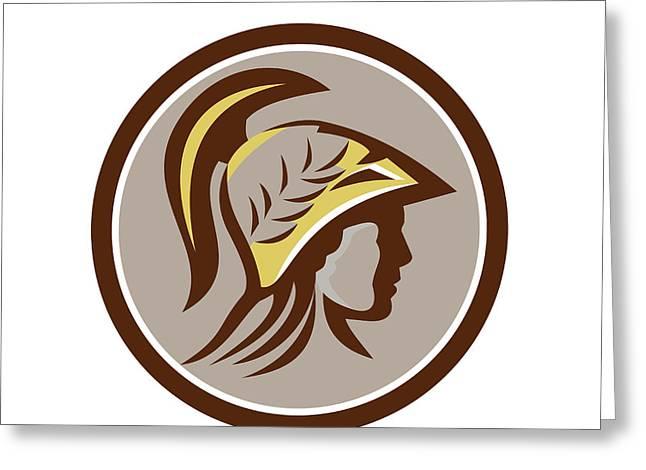 Minerva Head Helmet Circle Retro Greeting Card by Aloysius Patrimonio