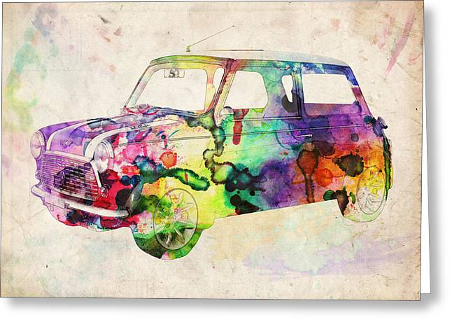 Sixties Greeting Cards - MIni Cooper Urban Art Greeting Card by Michael Tompsett