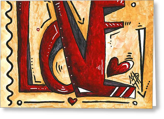 Licensor Greeting Cards - Mini PoP Art Gold Red Love Original Painting by MADART Greeting Card by Megan Duncanson