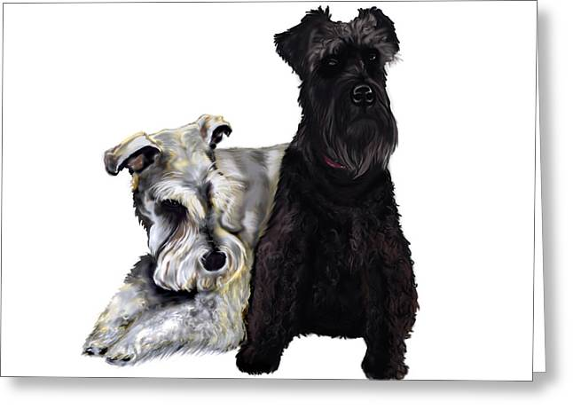 Mini Schnauzer Buddies Greeting Card by Kim Souza
