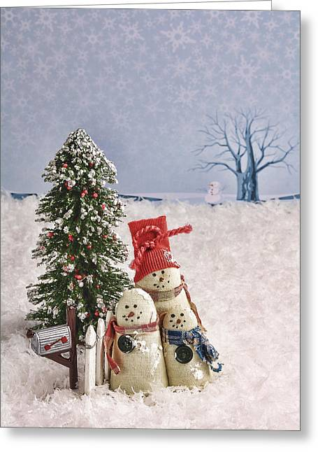 Snow Scene Landscape Greeting Cards - Mini Snowman Family Greeting Card by Vicki McLead