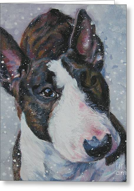 Christmas Dogs Greeting Cards - Miniature Bull Terrier in snow Greeting Card by Lee Ann Shepard