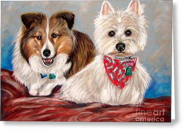 Collie Pastels Greeting Cards - Miniature Collie and West Highland Terrier Greeting Card by Patricia L Davidson