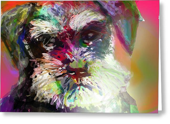 Mustaches Digital Greeting Cards - Miniature Schnauzer Greeting Card by James Thomas
