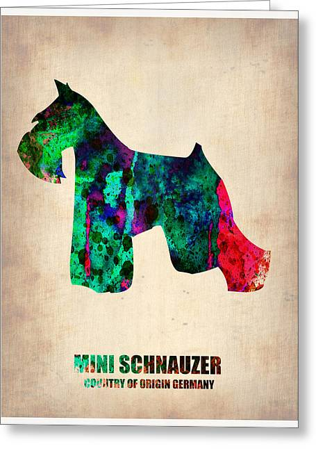 Cute Digital Art Greeting Cards - Miniature Schnauzer Poster 2 Greeting Card by Naxart Studio