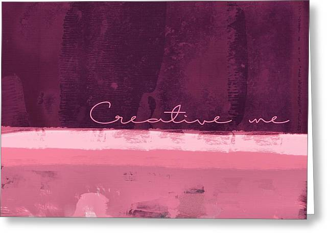 Square Format Greeting Cards - Minima - Creative me - r01at55 - Pinks Greeting Card by Variance Collections