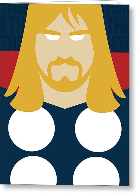 Thor Greeting Cards - Minimal Thor Greeting Card by Manny Jasus
