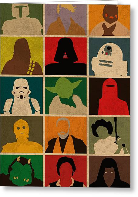 Minimalist Star Wars Character Colorful Pop Art Silhouettes Greeting Card by Design Turnpike