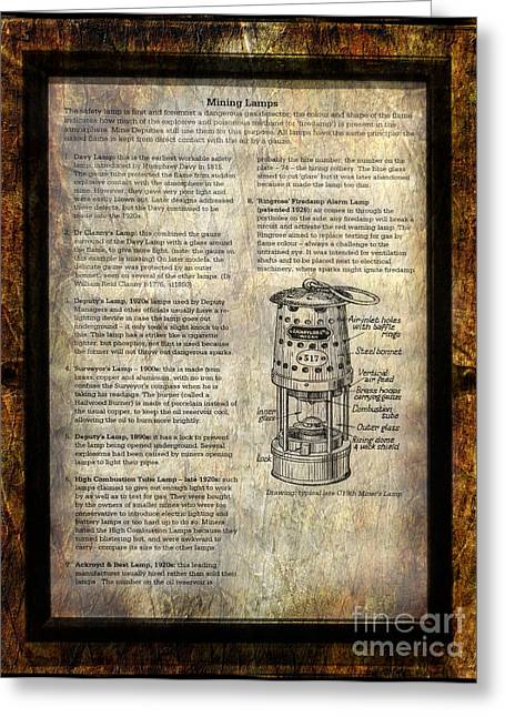 Instructions Greeting Cards - Mining Lamps Greeting Card by Adrian Evans