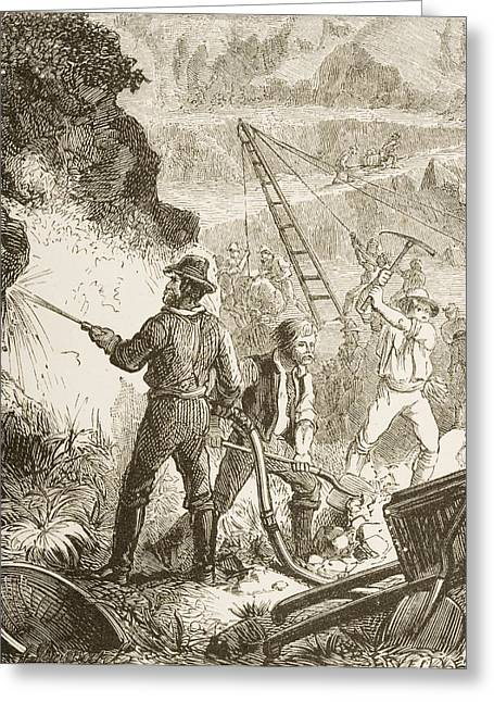 Goldrush Greeting Cards - Mining Operations In The 1870s. From Greeting Card by Ken Welsh