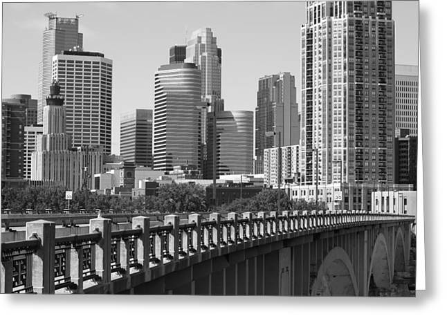 Minneapolis Skyline Greeting Cards - Minneapolis Black and White Greeting Card by Heidi Hermes