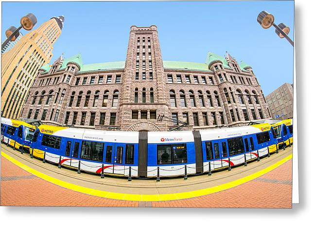 City Hall Photographs Greeting Cards - Minneapolis City Hall and Blue Line rail Greeting Card by Jim Hughes