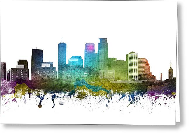 Rainbows Drawings Greeting Cards - Minneapolis cityscape 01 Greeting Card by Aged Pixel