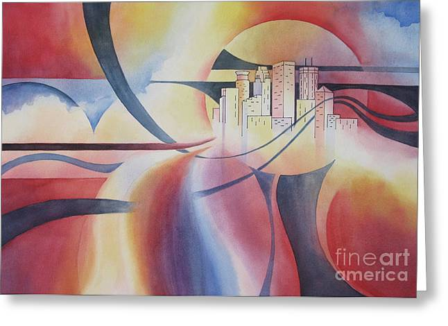 Deb Ronglien Watercolor Greeting Cards - Minneapolis Cityscape Greeting Card by Deborah Ronglien
