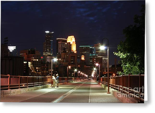 Moran Greeting Cards - Minneapolis from the Stone Arch Bridge Greeting Card by Wayne Moran